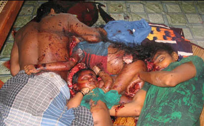 Genocide of Tamils taking place in Sri Lanka.